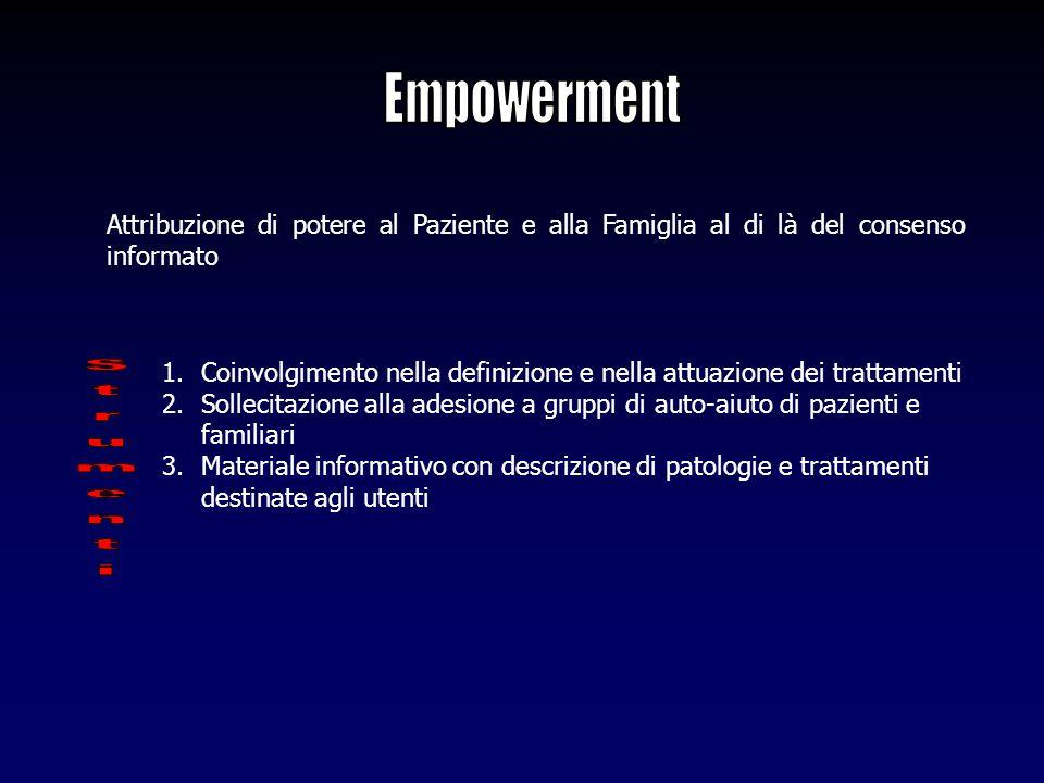 Attribuzione di potere al Paziente e alla Famiglia al di là del consenso informato 1.Coinvolgimento nella definizione e nella attuazione dei trattamen