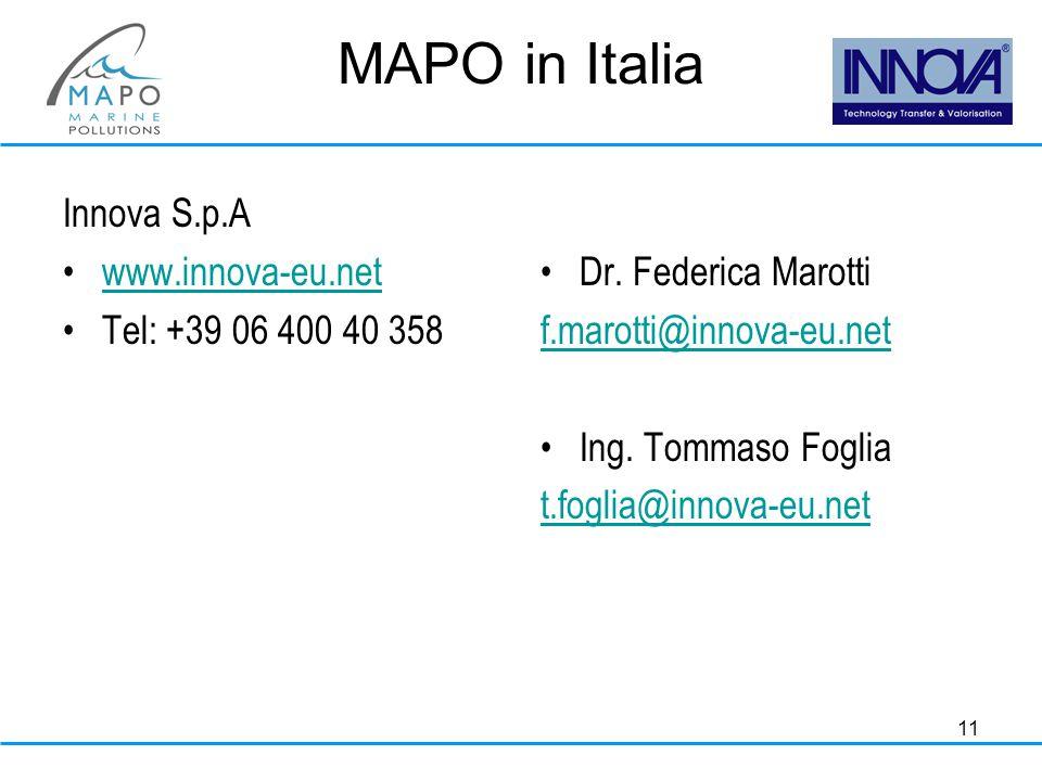 11 MAPO in Italia Innova S.p.A www.innova-eu.net Tel: +39 06 400 40 358 Dr.