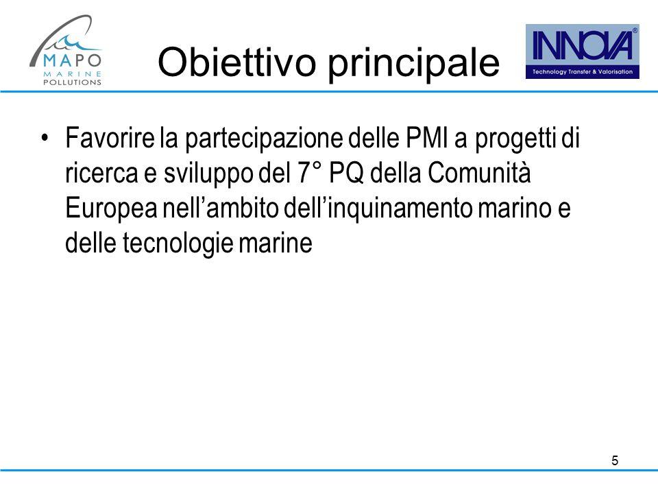 5 Obiettivo principale Favorire la partecipazione delle PMI a progetti di ricerca e sviluppo del 7° PQ della Comunità Europea nell'ambito dell'inquinamento marino e delle tecnologie marine