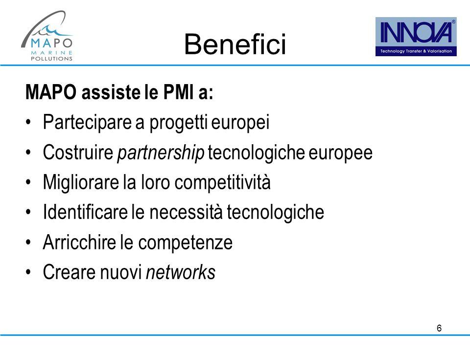 6 Benefici MAPO assiste le PMI a: Partecipare a progetti europei Costruire partnership tecnologiche europee Migliorare la loro competitività Identificare le necessità tecnologiche Arricchire le competenze Creare nuovi networks