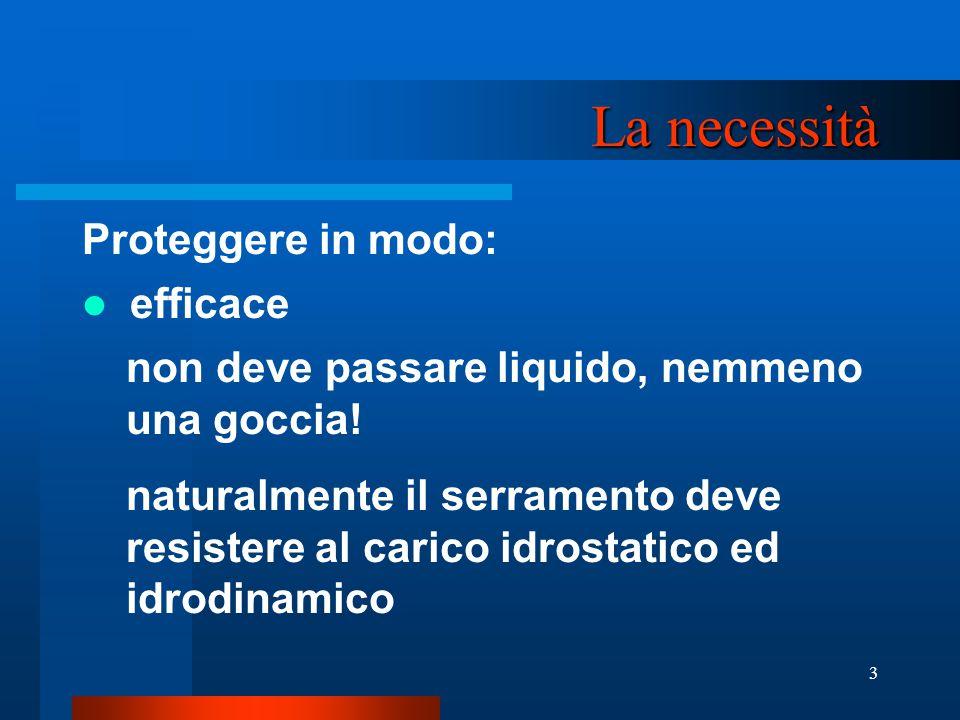 3 La necessità Proteggere in modo: efficace non deve passare liquido, nemmeno una goccia.