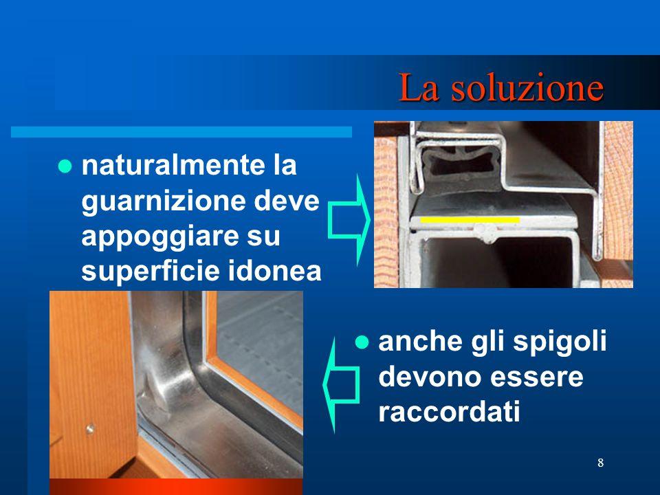 8 La soluzione naturalmente la guarnizione deve appoggiare su superficie idonea anche gli spigoli devono essere raccordati