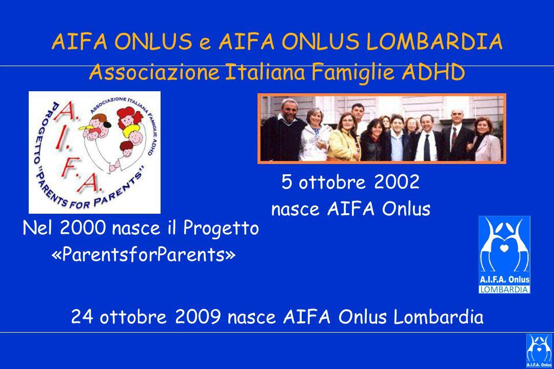 AIFA ONLUS e AIFA ONLUS LOMBARDIA Associazione Italiana Famiglie ADHD 5 ottobre 2002 nasce AIFA Onlus 24 ottobre 2009 nasce AIFA Onlus Lombardia Nel 2000 nasce il Progetto «ParentsforParents»