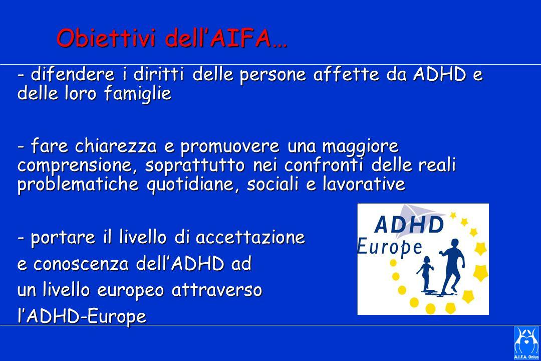 Obiettivi dell'AIFA… - difendere i diritti delle persone affette da ADHD e delle loro famiglie - fare chiarezza e promuovere una maggiore comprensione, soprattutto nei confronti delle reali problematiche quotidiane, sociali e lavorative - portare il livello di accettazione e conoscenza dell'ADHD ad un livello europeo attraverso l'ADHD-Europe