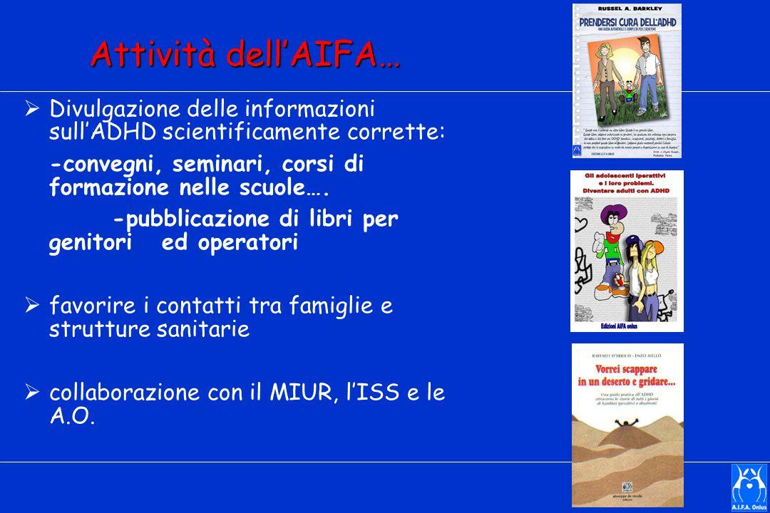 Attività dell'AIFA…  Divulgazione delle informazioni sull'ADHD scientificamente corrette: -convegni, seminari, corsi di formazione nelle scuole…. -pu