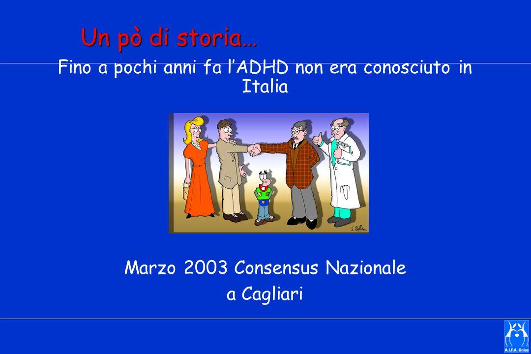 Un pò di storia… Fino a pochi anni fa l'ADHD non era conosciuto in Italia Marzo 2003 Consensus Nazionale a Cagliari