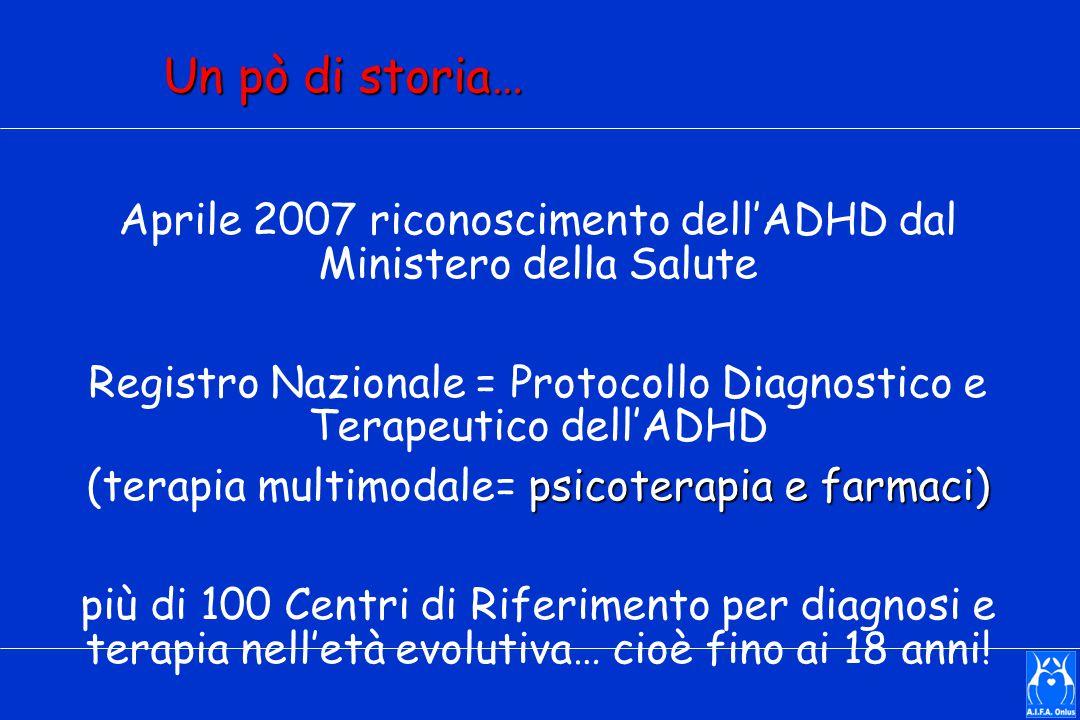 Un pò di storia… Aprile 2007 riconoscimento dell'ADHD dal Ministero della Salute Registro Nazionale = Protocollo Diagnostico e Terapeutico dell'ADHD psicoterapia e farmaci) (terapia multimodale= psicoterapia e farmaci) più di 100 Centri di Riferimento per diagnosi e terapia nell'età evolutiva… cioè fino ai 18 anni!