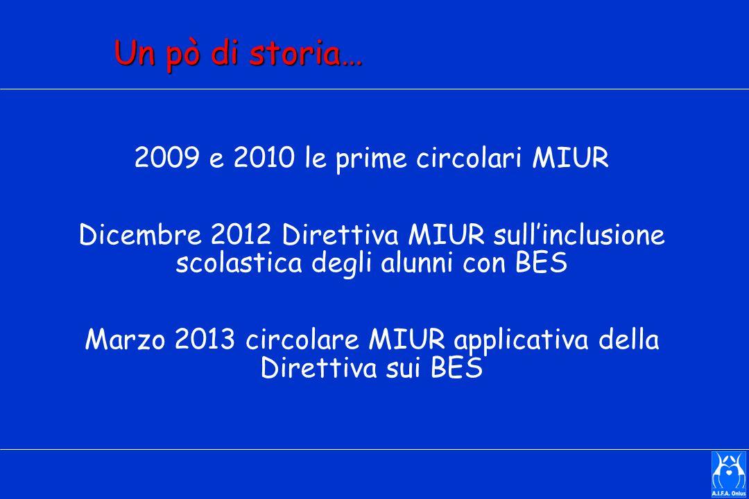 Un pò di storia… 2009 e 2010 le prime circolari MIUR Dicembre 2012 Direttiva MIUR sull'inclusione scolastica degli alunni con BES Marzo 2013 circolare MIUR applicativa della Direttiva sui BES