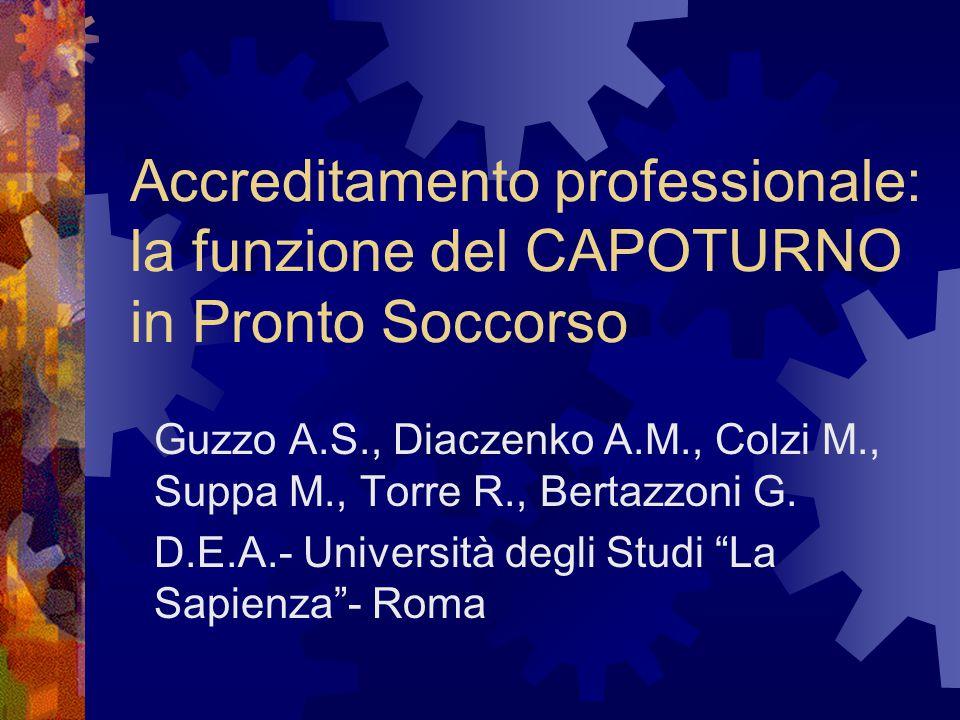 Accreditamento professionale: la funzione del CAPOTURNO in Pronto Soccorso Guzzo A.S., Diaczenko A.M., Colzi M., Suppa M., Torre R., Bertazzoni G. D.E