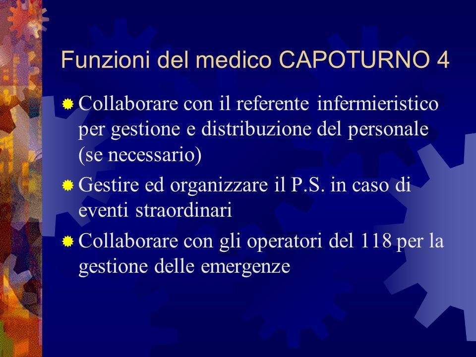 Funzioni del medico CAPOTURNO 4  Collaborare con il referente infermieristico per gestione e distribuzione del personale (se necessario)  Gestire ed