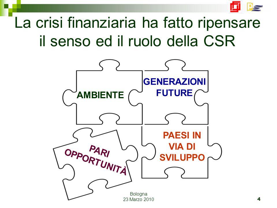 Bologna 23 Marzo 2010 4 AMBIENTE GENERAZIONI FUTURE PAESI IN VIA DI SVILUPPO PARI OPPORTUNITÀ La crisi finanziaria ha fatto ripensare il senso ed il ruolo della CSR