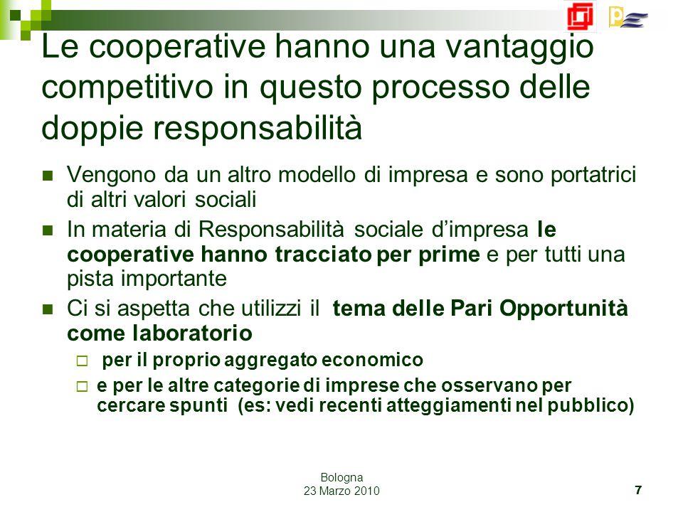 Bologna 23 Marzo 2010 7 Le cooperative hanno una vantaggio competitivo in questo processo delle doppie responsabilità Vengono da un altro modello di i