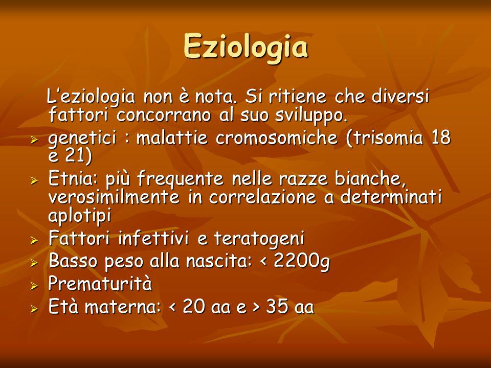 Eziologia L'eziologia non è nota. Si ritiene che diversi fattori concorrano al suo sviluppo. L'eziologia non è nota. Si ritiene che diversi fattori co