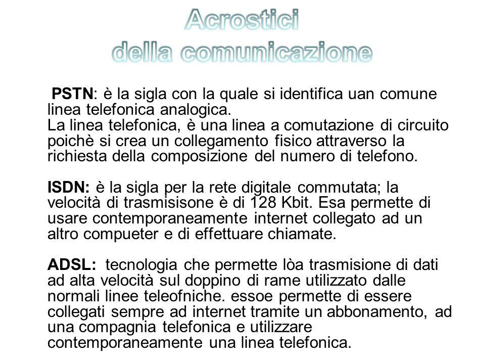 PSTN: è la sigla con la quale si identifica uan comune linea telefonica analogica.