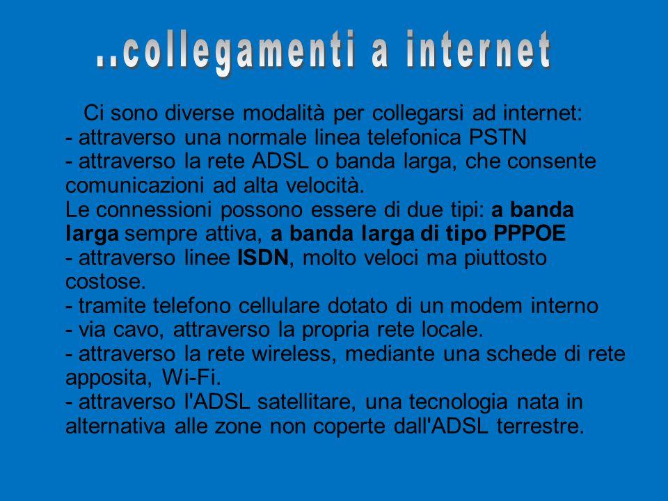 Ci sono diverse modalità per collegarsi ad internet: - attraverso una normale linea telefonica PSTN - attraverso la rete ADSL o banda larga, che consente comunicazioni ad alta velocità.