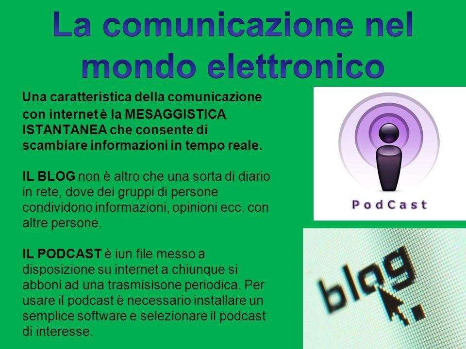 Una caratteristica della comunicazione con internet è la MESAGGISTICA ISTANTANEA che consente di scambiare informazioni in tempo reale.