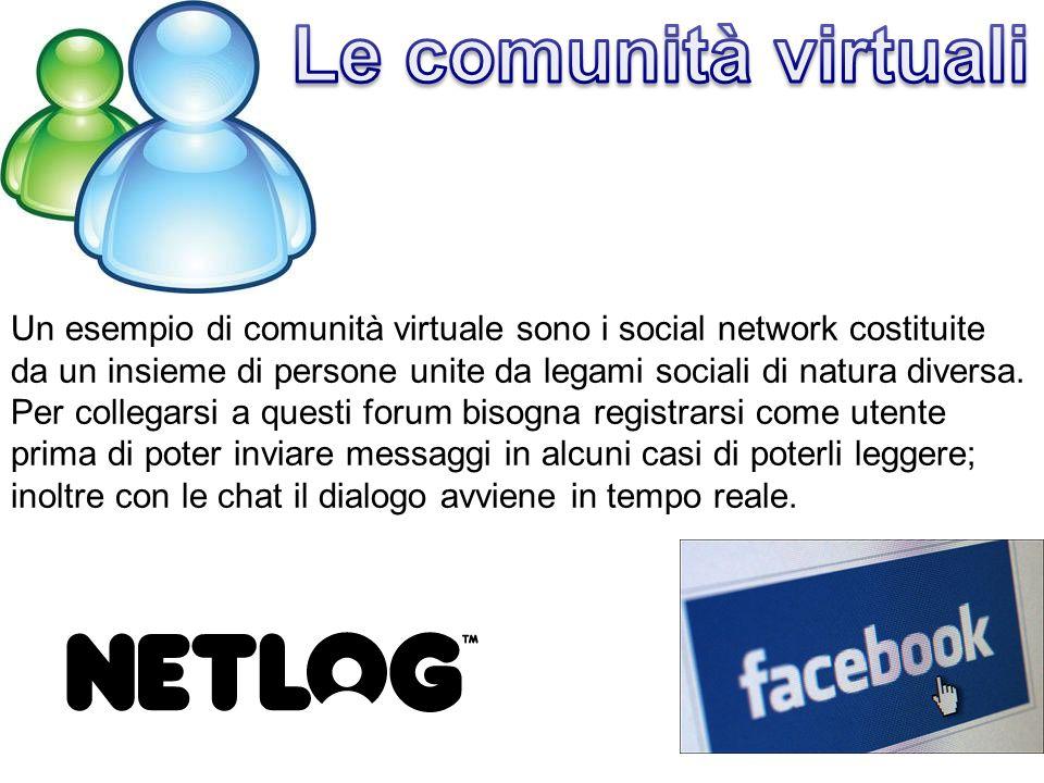 Un esempio di comunità virtuale sono i social network costituite da un insieme di persone unite da legami sociali di natura diversa.