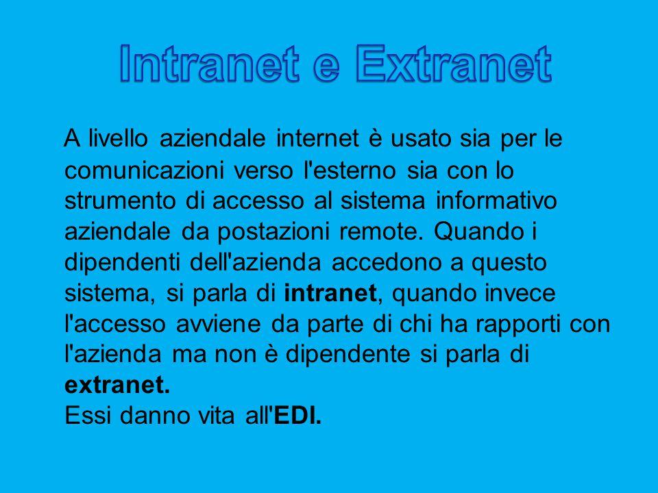 A livello aziendale internet è usato sia per le comunicazioni verso l esterno sia con lo strumento di accesso al sistema informativo aziendale da postazioni remote.