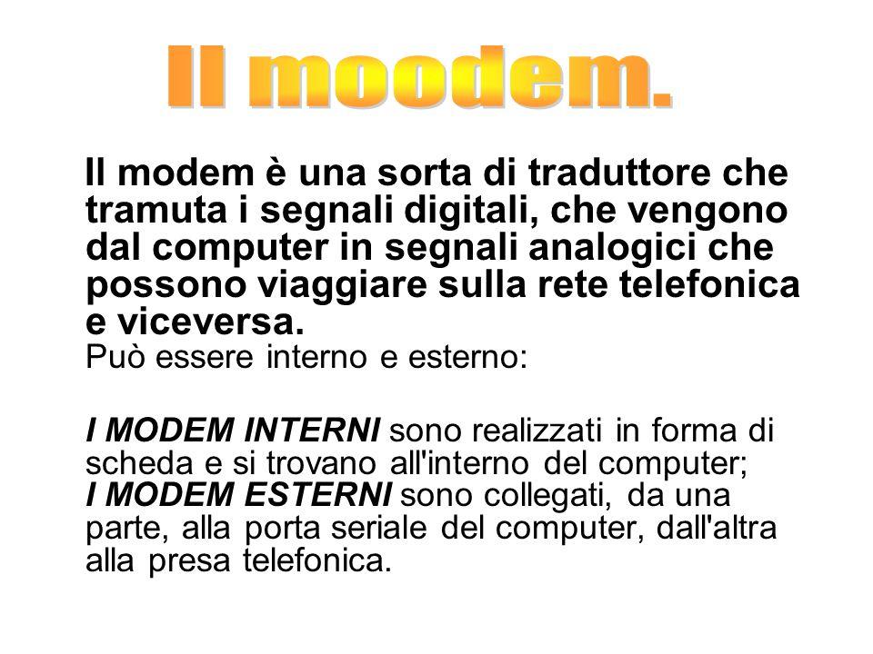 Il modem è una sorta di traduttore che tramuta i segnali digitali, che vengono dal computer in segnali analogici che possono viaggiare sulla rete telefonica e viceversa.