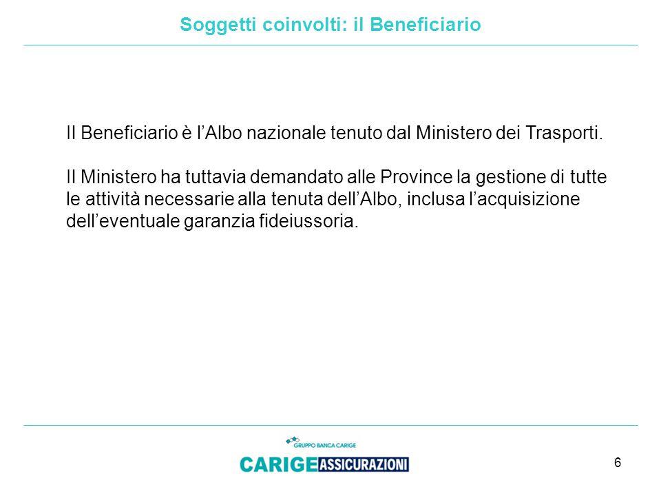 6 Il Beneficiario è l'Albo nazionale tenuto dal Ministero dei Trasporti.