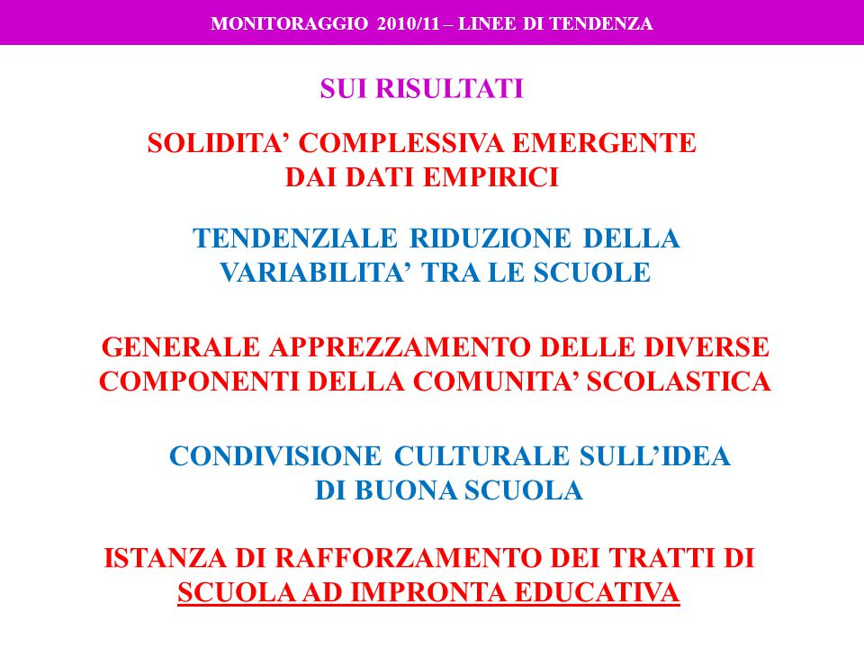 MONITORAGGIO 2010/11 – LINEE DI TENDENZA SUI RISULTATI SOLIDITA' COMPLESSIVA EMERGENTE DAI DATI EMPIRICI TENDENZIALE RIDUZIONE DELLA VARIABILITA' TRA LE SCUOLE ISTANZA DI RAFFORZAMENTO DEI TRATTI DI SCUOLA AD IMPRONTA EDUCATIVA GENERALE APPREZZAMENTO DELLE DIVERSE COMPONENTI DELLA COMUNITA' SCOLASTICA CONDIVISIONE CULTURALE SULL'IDEA DI BUONA SCUOLA