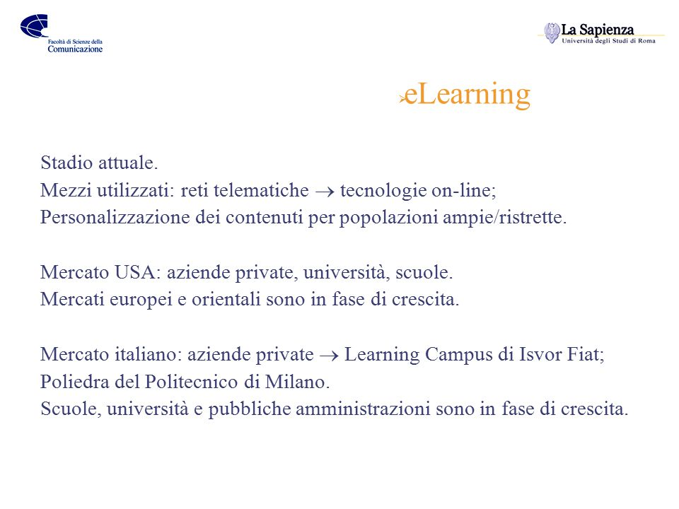  eLearning Stadio attuale.