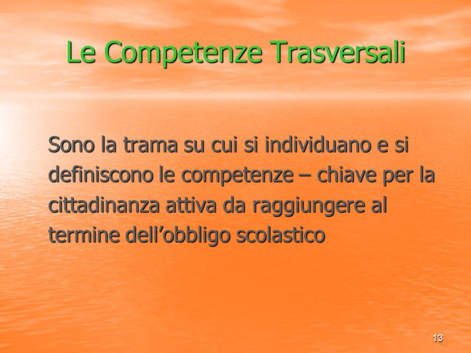 13 Le Competenze Trasversali Sono la trama su cui si individuano e si Sono la trama su cui si individuano e si definiscono le competenze – chiave per