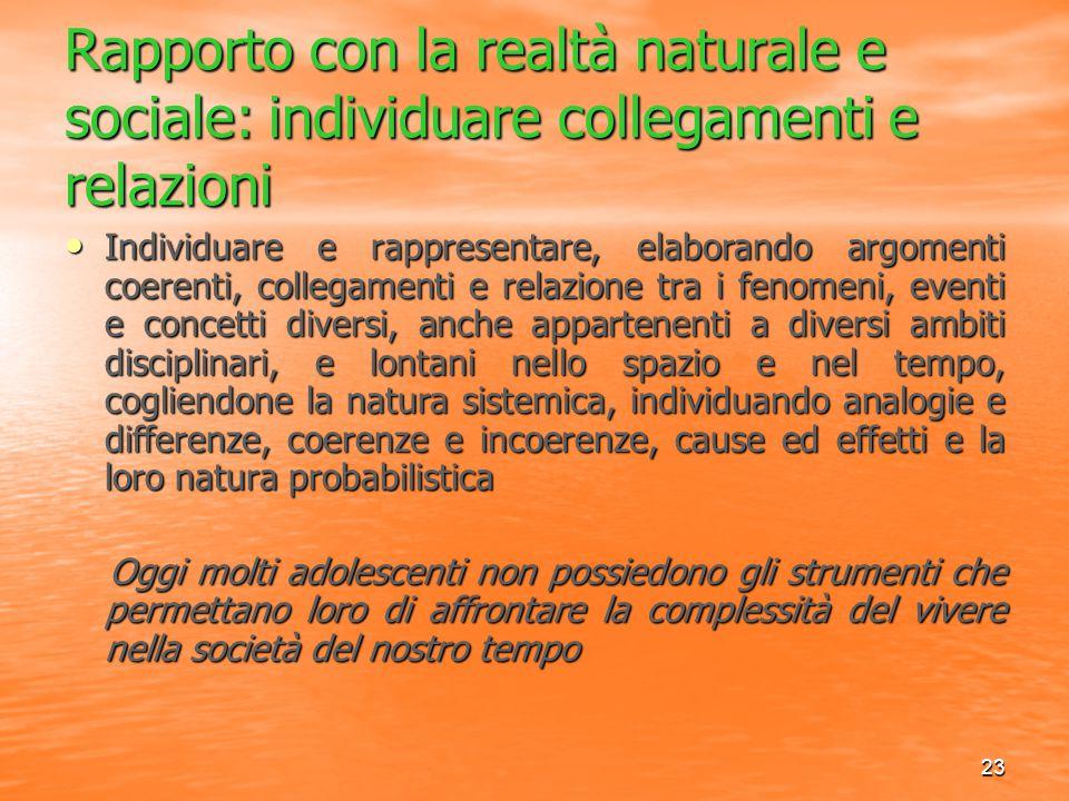 23 Rapporto con la realtà naturale e sociale: individuare collegamenti e relazioni Individuare e rappresentare, elaborando argomenti coerenti, collega