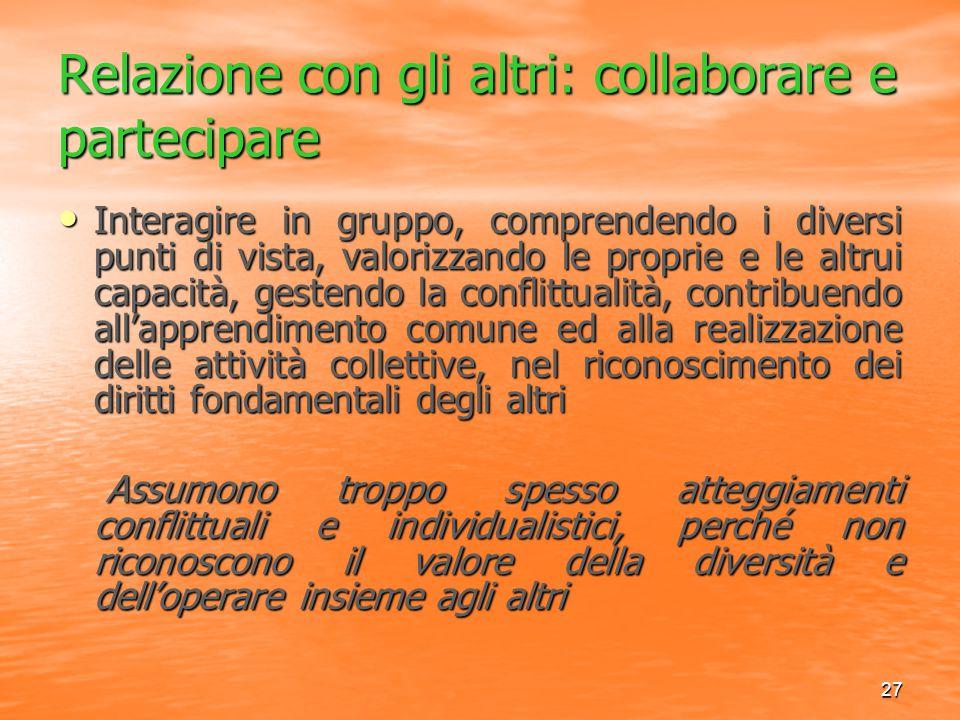 27 Relazione con gli altri: collaborare e partecipare Interagire in gruppo, comprendendo i diversi punti di vista, valorizzando le proprie e le altrui