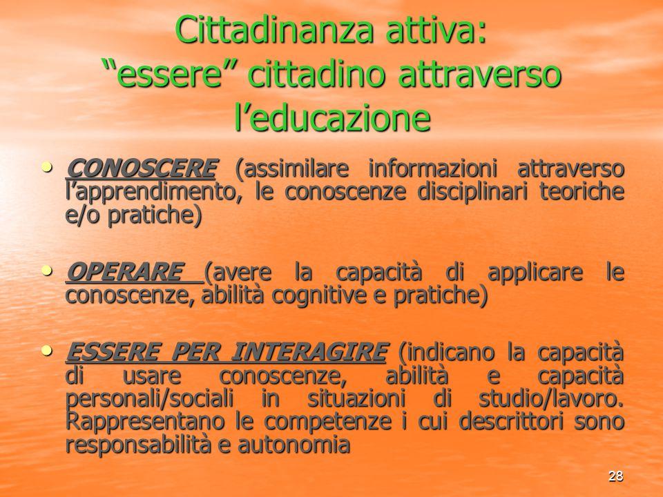 """28 Cittadinanza attiva: """"essere"""" cittadino attraverso l'educazione CONOSCERE (assimilare informazioni attraverso l'apprendimento, le conoscenze discip"""