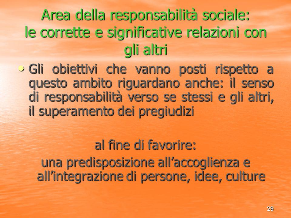 29 Area della responsabilità sociale: le corrette e significative relazioni con gli altri Gli obiettivi che vanno posti rispetto a questo ambito rigua