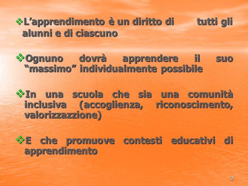 """3  L'apprendimento è un diritto di tutti gli alunni e di ciascuno  Ognuno dovrà apprendere il suo """"massimo"""" individualmente possibile  In una scuol"""