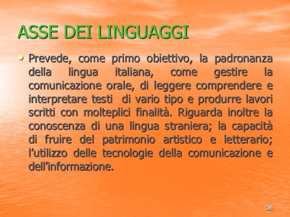 36 ASSE DEI LINGUAGGI Prevede, come primo obiettivo, la padronanza della lingua italiana, come gestire la comunicazione orale, di leggere comprendere