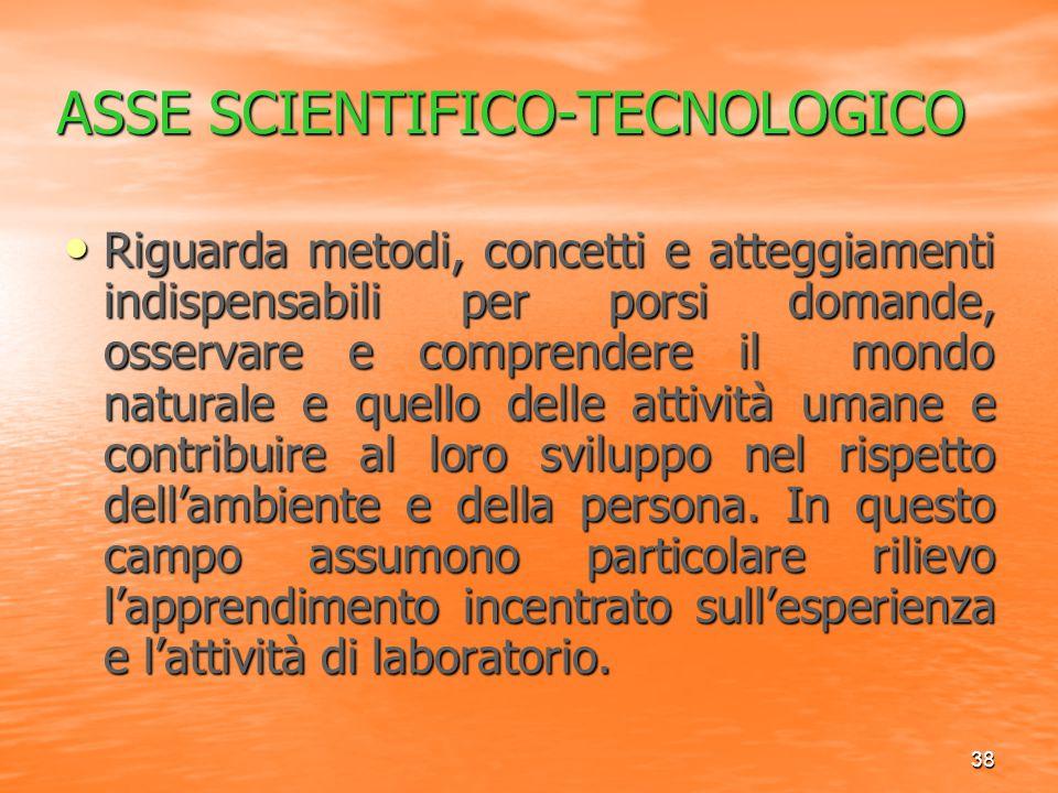 38 ASSE SCIENTIFICO-TECNOLOGICO Riguarda metodi, concetti e atteggiamenti indispensabili per porsi domande, osservare e comprendere il mondo naturale