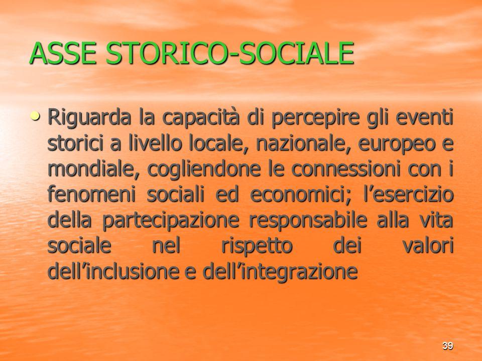 39 ASSE STORICO-SOCIALE Riguarda la capacità di percepire gli eventi storici a livello locale, nazionale, europeo e mondiale, cogliendone le connessio