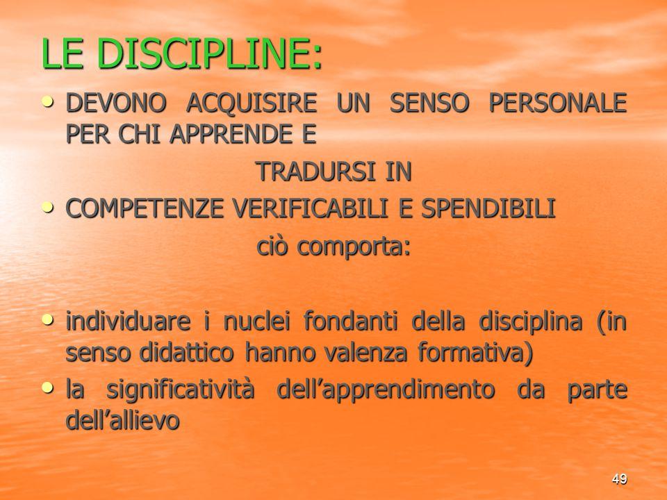 49 LE DISCIPLINE: DEVONO ACQUISIRE UN SENSO PERSONALE PER CHI APPRENDE E DEVONO ACQUISIRE UN SENSO PERSONALE PER CHI APPRENDE E TRADURSI IN COMPETENZE