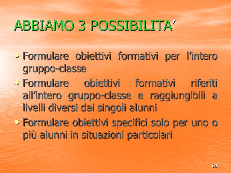 60 ABBIAMO 3 POSSIBILITA' Formulare obiettivi formativi per l'intero gruppo-classe Formulare obiettivi formativi per l'intero gruppo-classe Formulare