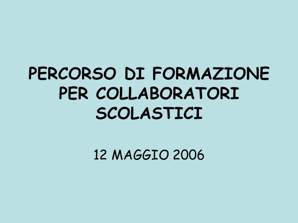 PERCORSO DI FORMAZIONE PER COLLABORATORI SCOLASTICI 12 MAGGIO 2006
