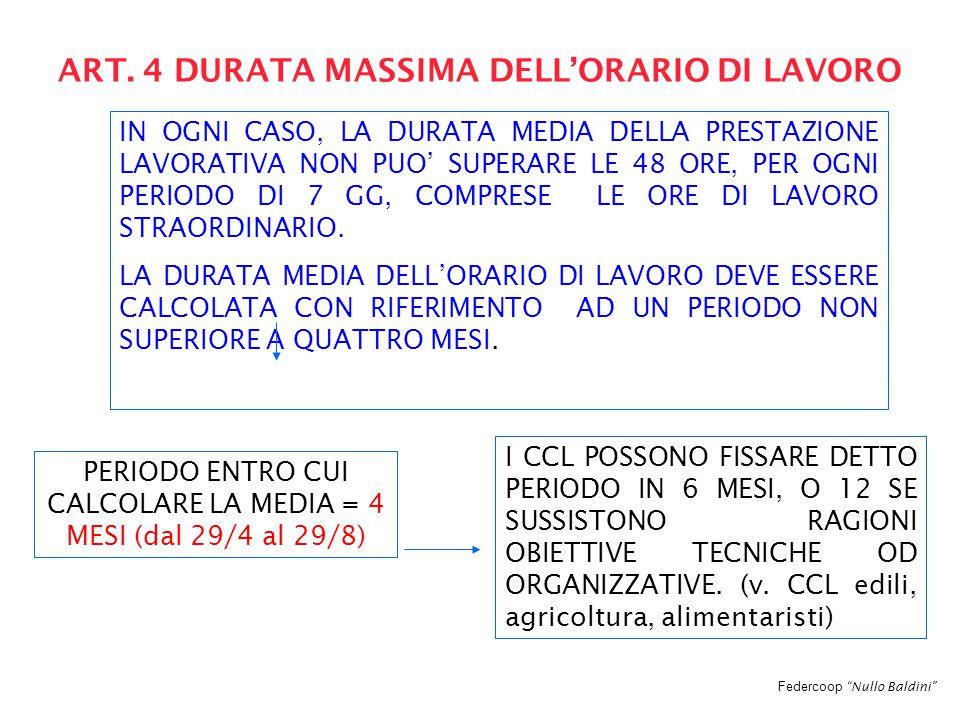 """Federcoop """"Nullo Baldini"""" ART. 4 DURATA MASSIMA DELL'ORARIO DI LAVORO IN OGNI CASO, LA DURATA MEDIA DELLA PRESTAZIONE LAVORATIVA NON PUO' SUPERARE LE"""