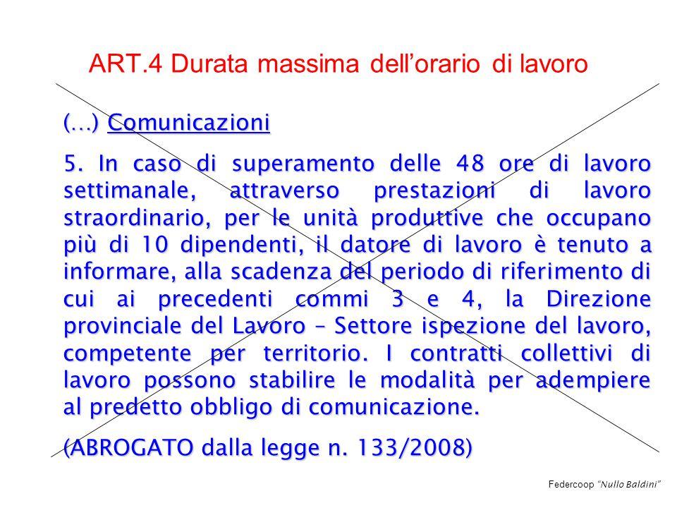 Federcoop Nullo Baldini ART.4 Durata massima dell'orario di lavoro (…) Comunicazioni 5.