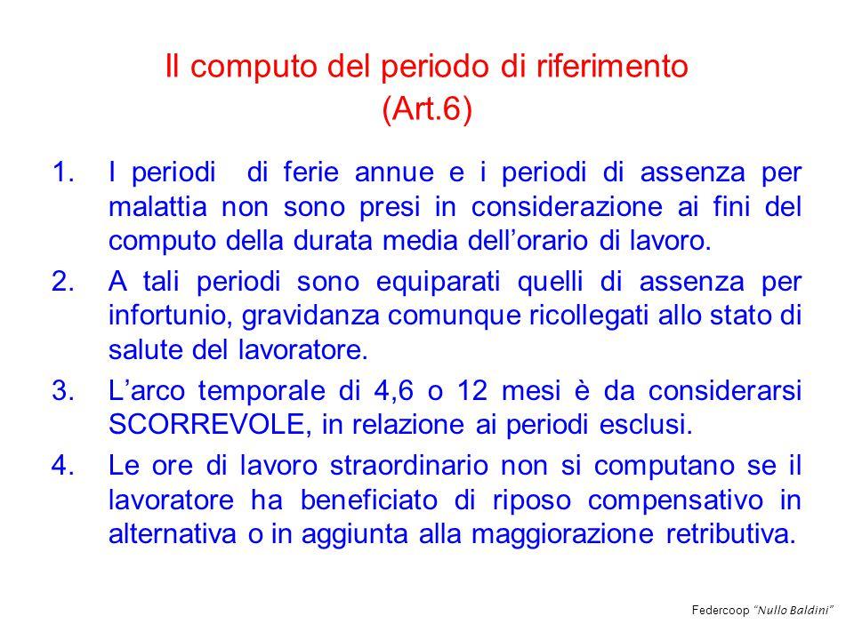 Federcoop Nullo Baldini Il computo del periodo di riferimento (Art.6) 1.I periodi di ferie annue e i periodi di assenza per malattia non sono presi in considerazione ai fini del computo della durata media dell'orario di lavoro.