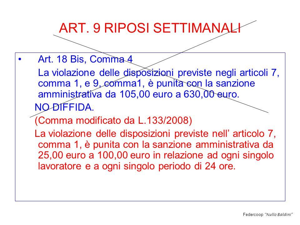 Federcoop Nullo Baldini ART. 9 RIPOSI SETTIMANALI Art.