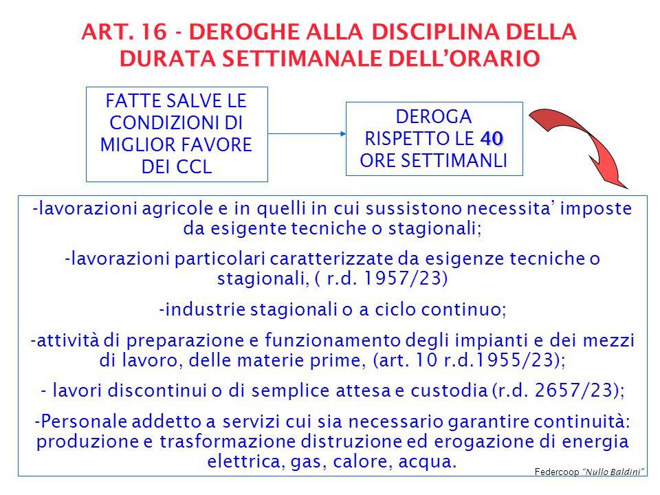 """Federcoop """"Nullo Baldini"""" ART. 16 - DEROGHE ALLA DISCIPLINA DELLA DURATA SETTIMANALE DELL'ORARIO FATTE SALVE LE CONDIZIONI DI MIGLIOR FAVORE DEI CCL 4"""