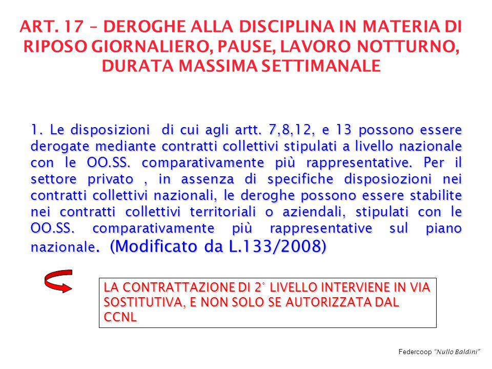 """Federcoop """"Nullo Baldini"""" ART. 17 – DEROGHE ALLA DISCIPLINA IN MATERIA DI RIPOSO GIORNALIERO, PAUSE, LAVORO NOTTURNO, DURATA MASSIMA SETTIMANALE 1. Le"""