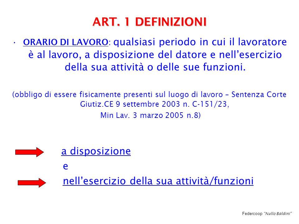 """Federcoop """"Nullo Baldini"""" ART. 1 DEFINIZIONI ORARIO DI LAVORO: qualsiasi periodo in cui il lavoratore è al lavoro, a disposizione del datore e nell'es"""