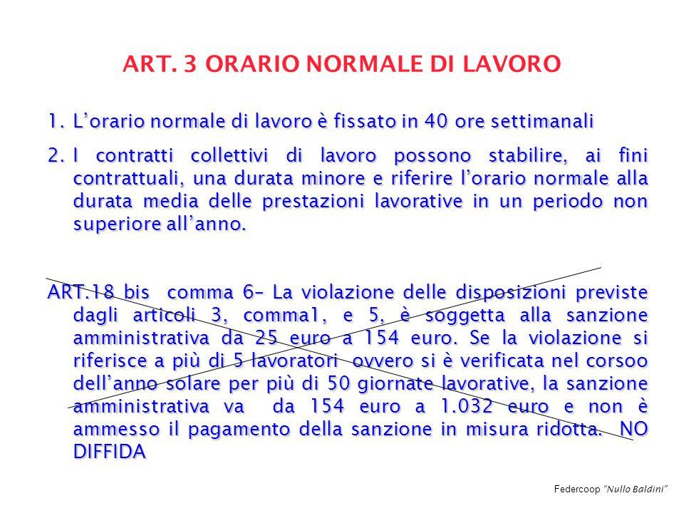 """Federcoop """"Nullo Baldini"""" ART. 3 ORARIO NORMALE DI LAVORO 1.L'orario normale di lavoro è fissato in 40 ore settimanali 2.I contratti collettivi di lav"""