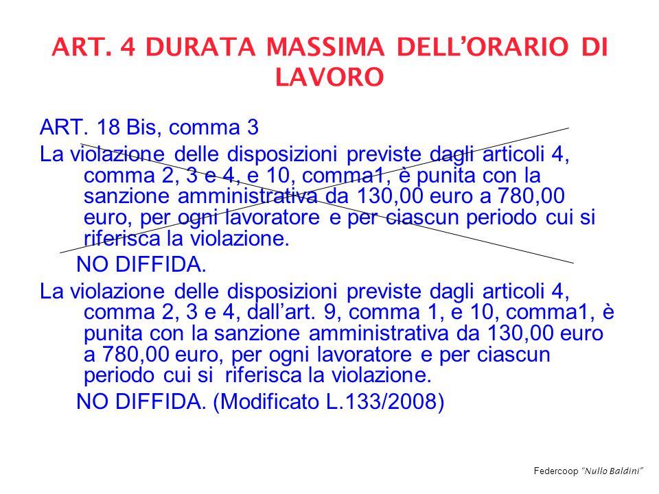 Federcoop Nullo Baldini ART. 4 DURATA MASSIMA DELL'ORARIO DI LAVORO ART.