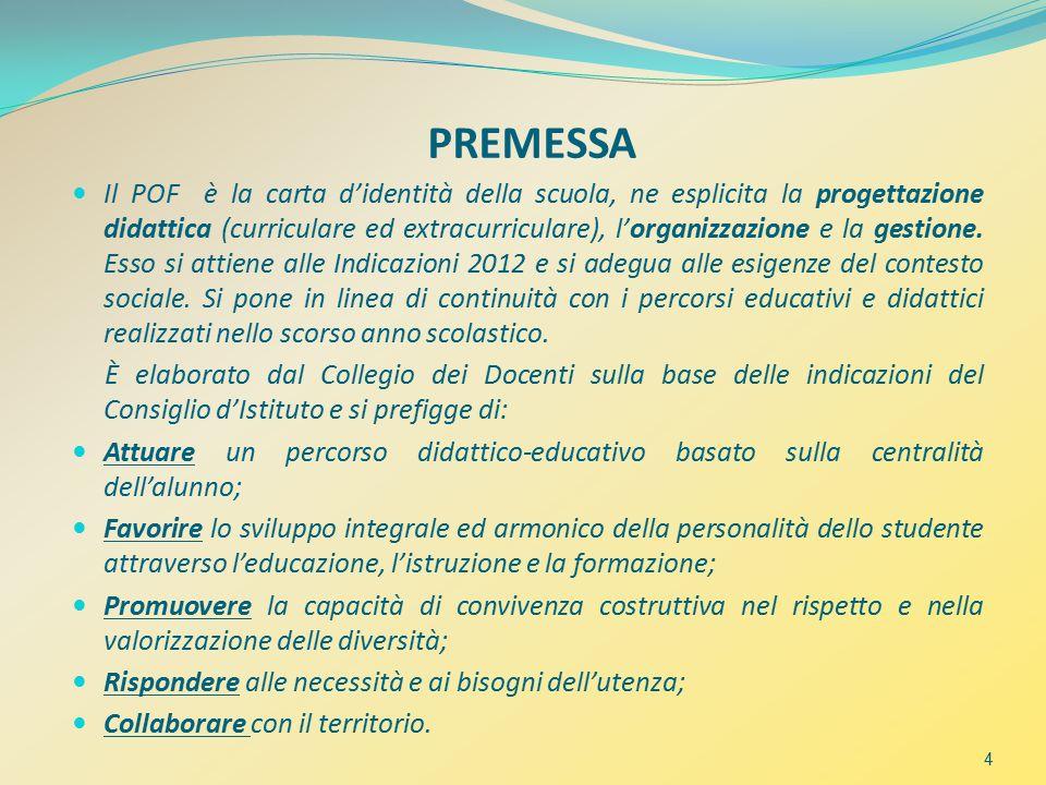 PREMESSA Il POF è la carta d'identità della scuola, ne esplicita la progettazione didattica (curriculare ed extracurriculare), l'organizzazione e la gestione.