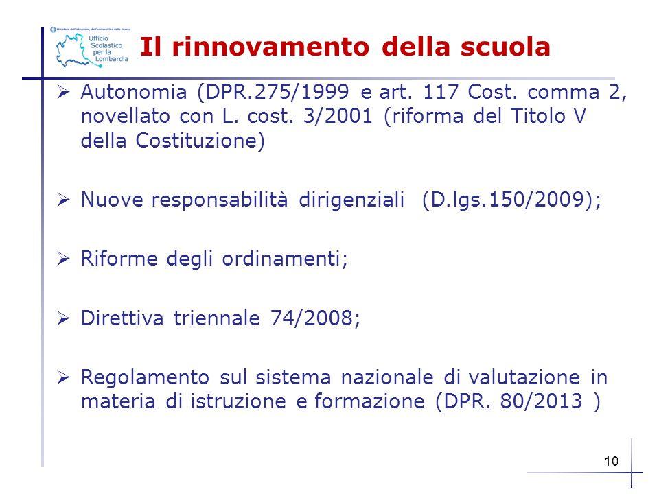 Il rinnovamento della scuola  Autonomia (DPR.275/1999 e art. 117 Cost. comma 2, novellato con L. cost. 3/2001 (riforma del Titolo V della Costituzion