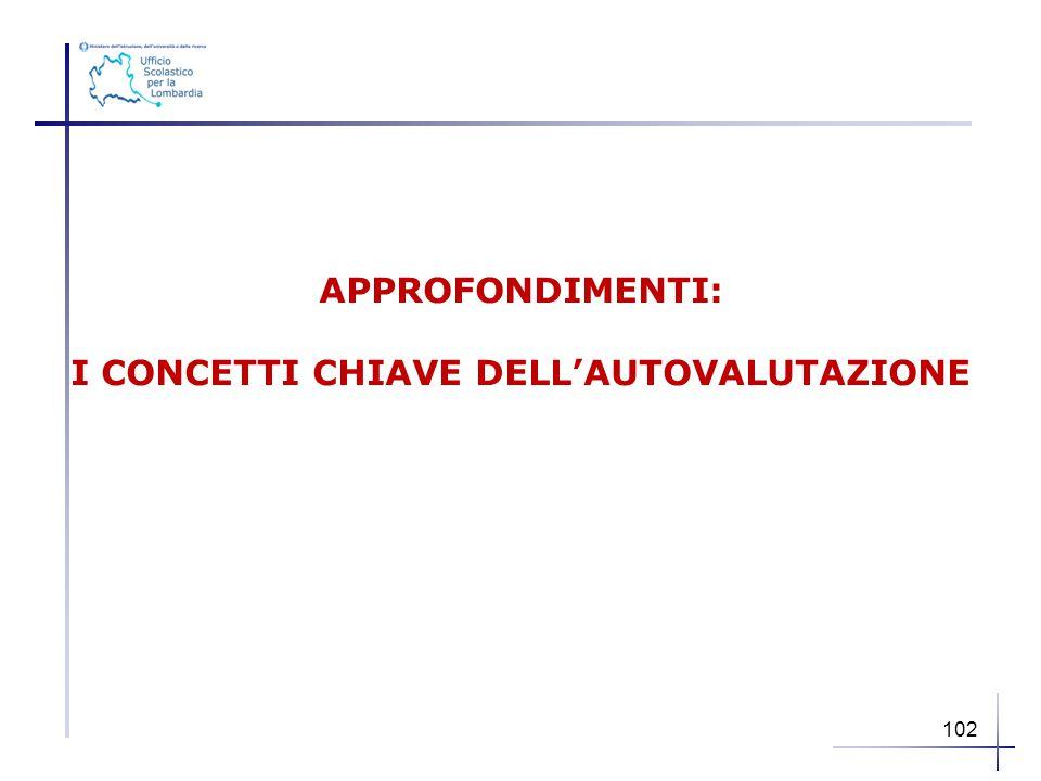 APPROFONDIMENTI: I CONCETTI CHIAVE DELL'AUTOVALUTAZIONE 102